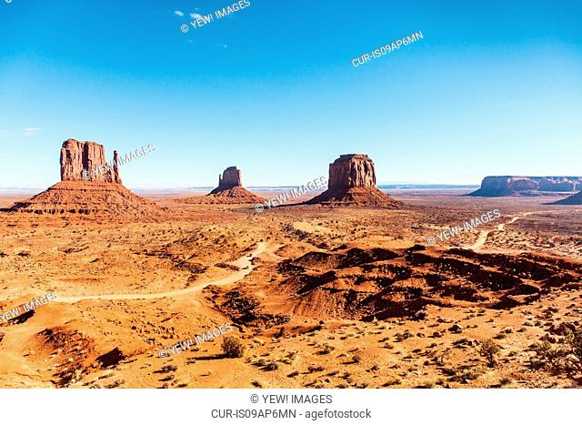 View of valley and rock formations, Monument Valley, Utah, USA