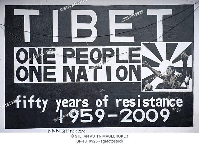 Free Tibet, believe in the Tibetan people and nation, poster depicting 50 years of resistance, Upper Dharamasala, McLeod Ganj, Hamachal Pradesh, India