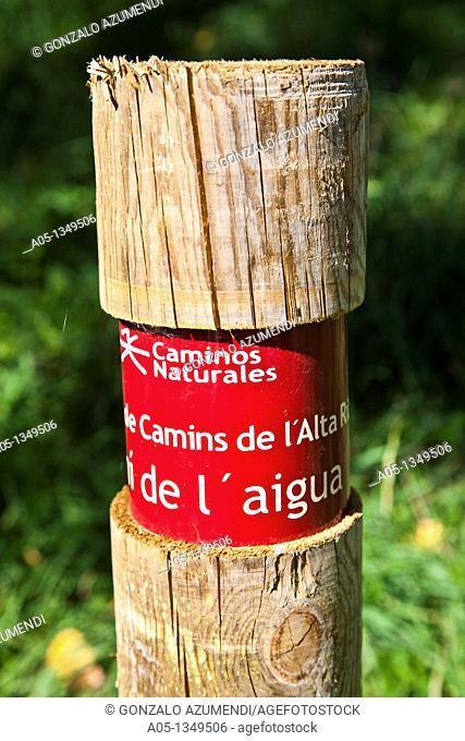 Information sign  Camí de l'Aigua  Barruera  Boi-Taull Valley  Alta Ribagorça Region Peripheric area. Aigüestortes i Estany de Sant Maurici National Park