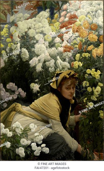 Chrysanthemums by Tissot, James Jacques Joseph (1836-1902)/Oil on canvas/Academic art/c. 1875/France/Clark Art Institute, Williamstown, Massachusetts/118,4x76