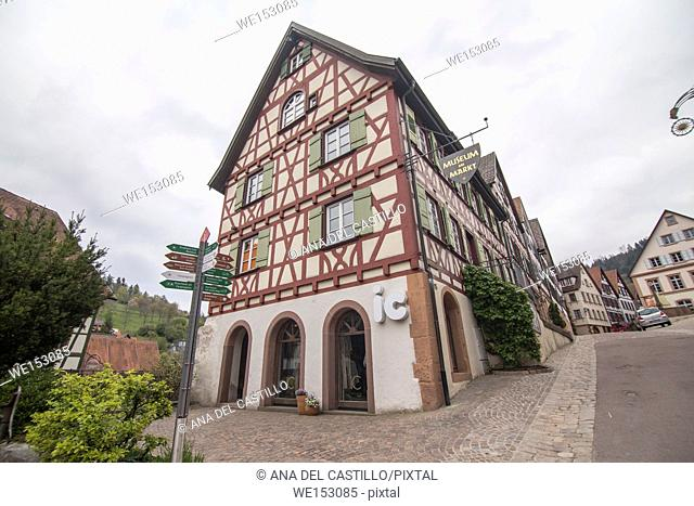 Traditional half-timbered houses located in the historic center of Schiltach, Black Forest, Baden-Wurtemberg, Germany, Europe