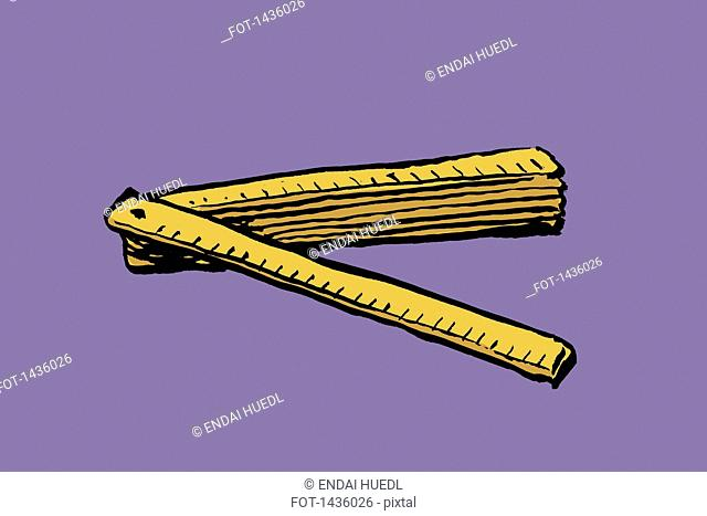 Illustration of foldable ruler against purple background