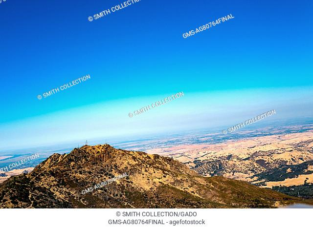 View from the summit of Mount Diablo in the San Francisco Bay Area, looking Southeast towards the hills near Brentwood, California, August 13, 2016