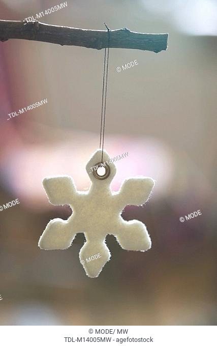 A snowflake Christmas tree decoration