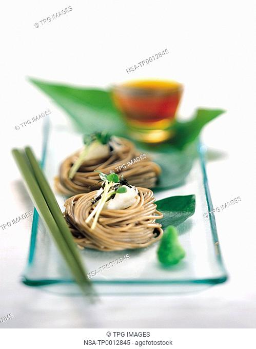 High angle view of noodles with dip