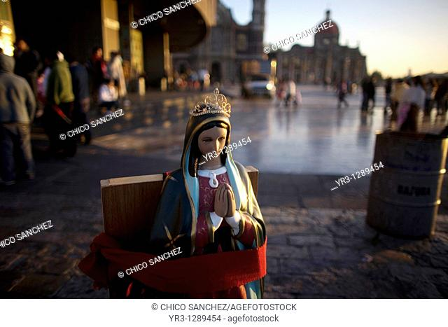 A statue of the Our Lady of Guadalupe outside the Our Lady of Guadalupe Basilica in Mexico City, December 4, 2010  Hundreds of thousands of Mexican pilgrims...