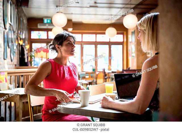 Women brainstorming business ideas in restaurant