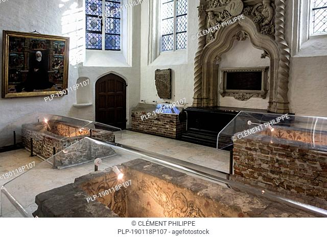 13th and 15th century painted graves in the Church of Our Lady / Onze-Lieve-Vrouwekerk in the city Bruges, West Flanders, Belgium