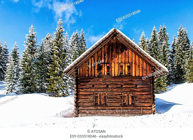 Winter landscape with a small chalet