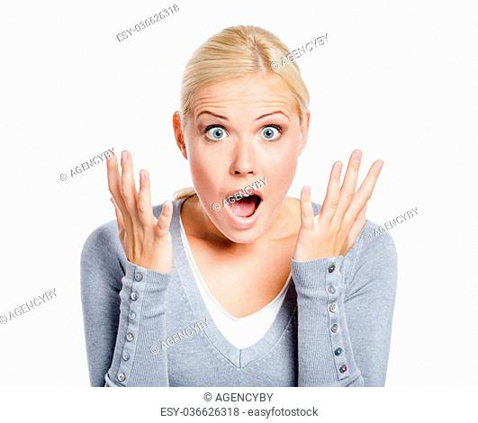 Shocked lady with her mouth opened spread hands, isolated on white