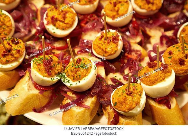 Stuffed egg with tuna, Pintxos, Bar Taberna Aralar, Parte Vieja, Old Town, Donostia, San Sebastian, Gipuzkoa, Basque Country, Spain