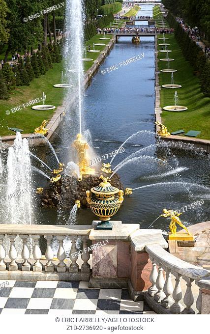 Grand Cascade in Peterhof. Summer palace. St Petersburg Russia