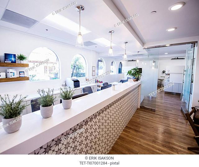 Reception area of a dentist's surgery