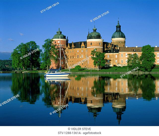 Castle, Domes, Glassy, Gripsholm, Holiday, Landmark, Mariefred, Reflection, Sailboat, Sweden, Europe, Tourism, Travel, Vacation
