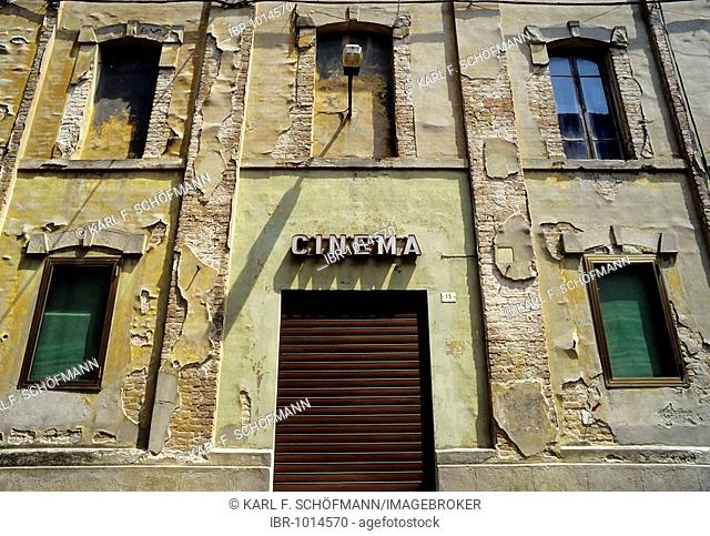 Closed movie theatre entrance in a ruinous house, Busseto, province of Parma, Emilia-Romagna, Italy, Europe