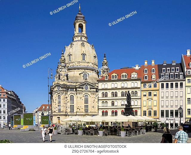 Neumarkt Square and Frauenkirche Church in the city of Dresden, Saxony, Germany