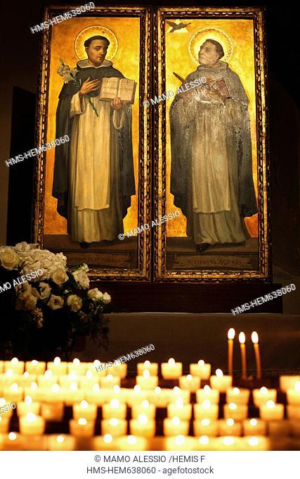 Italy, Puglia, Bari, paintings of St Dominic de Guzman and St Thomas Aquinas in the interior of the basilica of San Nicola