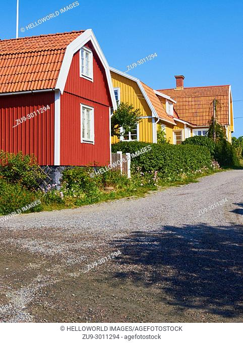Community of traditional colourful timber houses, Sweden, Scandinavia