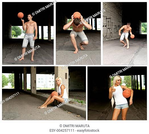 Street Basketball people collage. Made of five photos