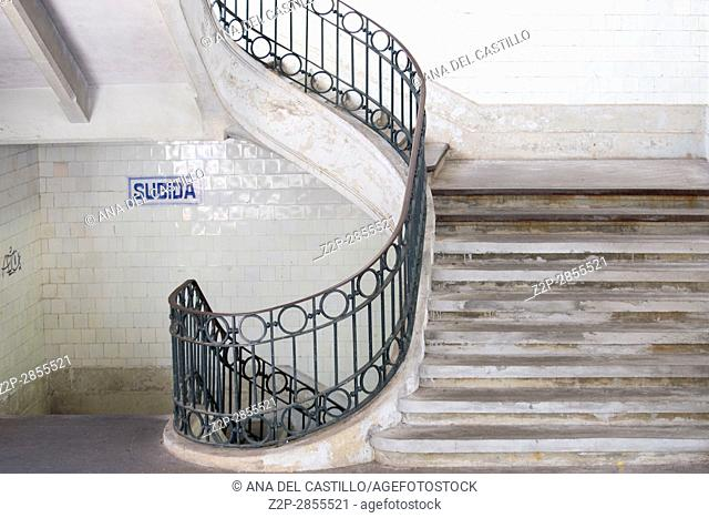 Staircase of Bolhao market on Porto, Portugal. Built in 1914 by Correia da Silva architect, on January 7, 2017