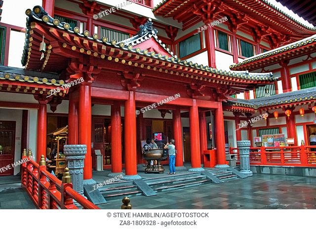Interior courtyard of New Buddha Tooth Relic Temple and Museum on South bridge road in Singapore