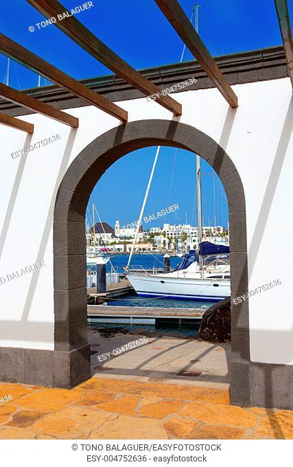Lanzarote Marina Rubicon port at Playa Blanca in Canary Islands