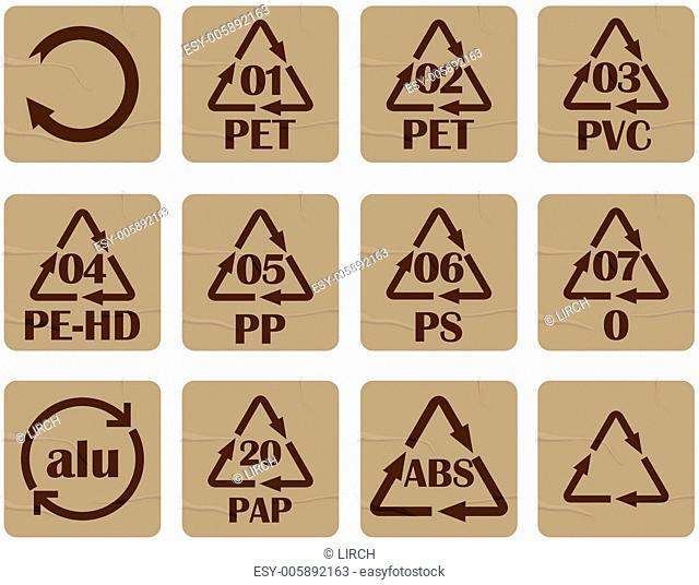 Recycling code stickers