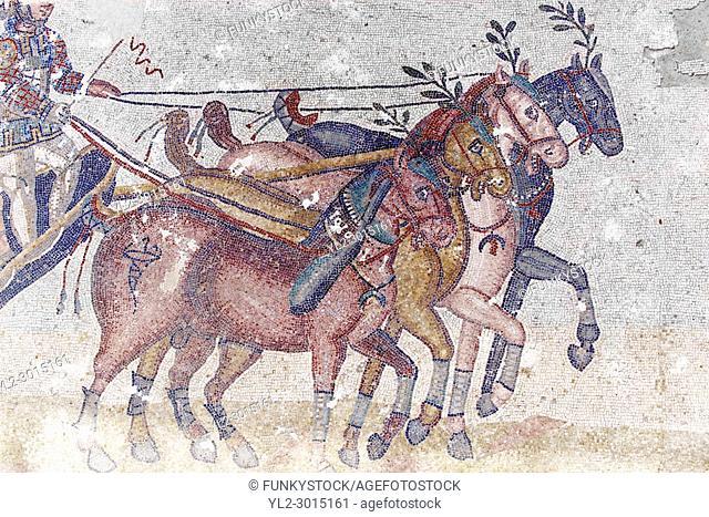 Close up of a chariot racing at the Circus Maximus Chariot racing at the Circus Maximus from the Palaestra room no 15. . Roman mosaics at the Villa Romana del...