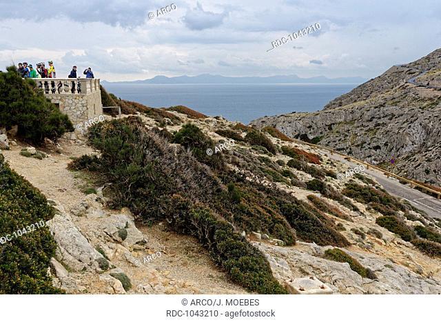 racing cyclists are taking a break at Cap de Formentor, Mallorca (Majorca), Balearics (Balearic Islands), Spain, Europe