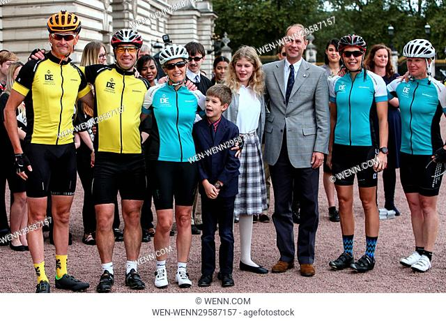 Sophie, Countess of Wessex arrives at Buckingham Palace as she completes her cycle ride from Edinburgh to London for the 60th anniversary of the Duke of...