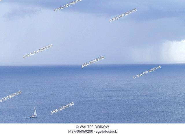 French West Indies, St-Barthelemy, Colombier, storm clouds