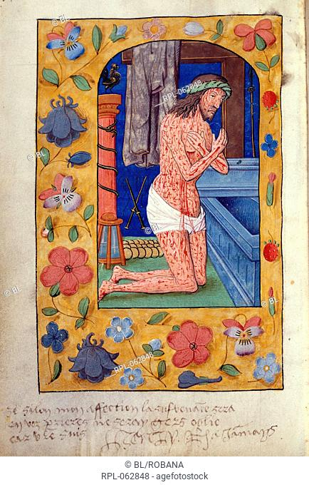 Christ kneels by open tomb Whole folio Psalms of the Passion. The dead Christ with blood streaming from his wounds kneels by an open tomb with instruments of...