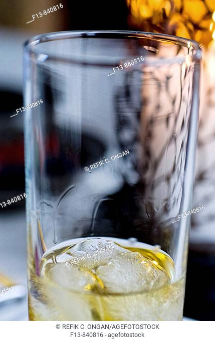 ice and whisky in glass
