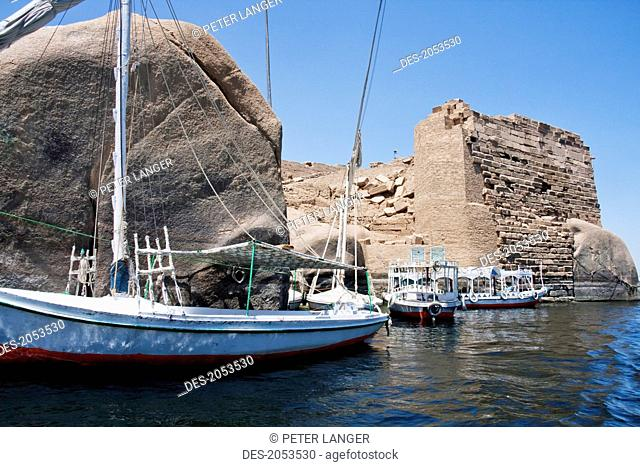 Felucca On The Nile By The Nilometer On Elephantine Island, Aswan, Egypt