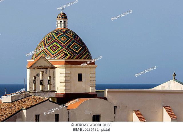 Multicolor dome at waterfront, Alghero, Provincia di Sassari, Italy
