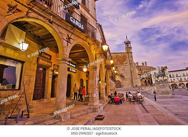 On background Iglesia de San Martin church, Equestrian statue of Francisco Pizarro, Plaza Mayor, Main Square, Trujillo, Caceres Province, Extremadura, Spain