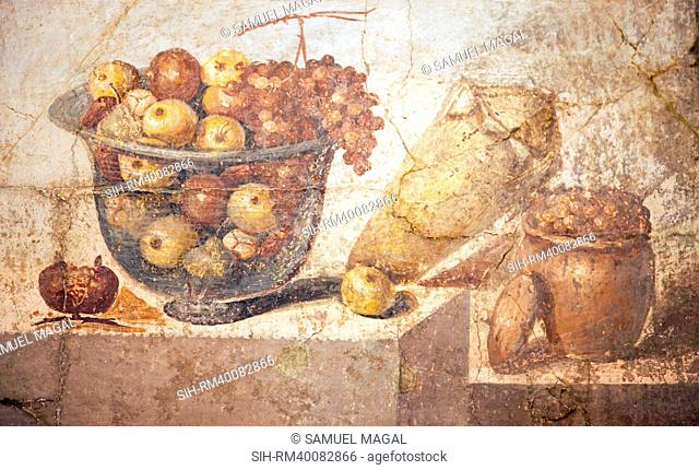 This is one of the most famous examples of an ancient still life. The fruit, which fills the glass bowl producing a fine effect of transparency