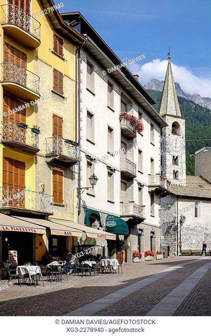 Via Roma and the church of San Vitale in the centre of Bormio, Lombardy, Italy