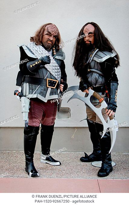 "Cosplayers Bill and Mario from Santa Barbara as Klingons from """"Star Trek"""", at the Comic-Con San Diego, in July 2017. 