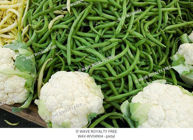 Fresh organic vegetables at a farmer's market