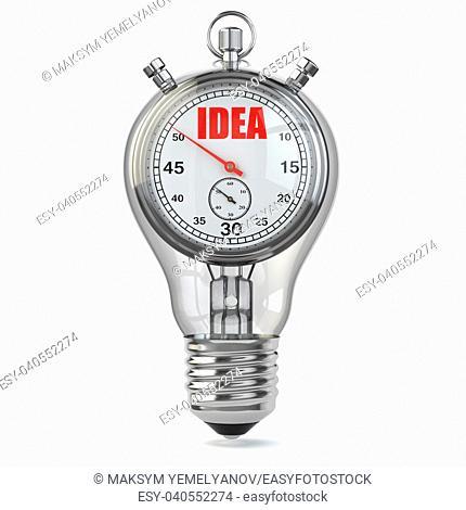 Idea concept. Stopwarch in light bulb, 3d