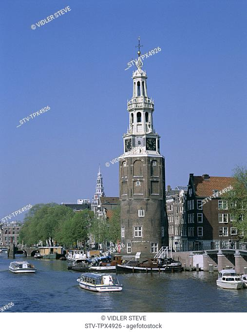 Amsterdam, Boats, Canal, Holiday, Holland, Europe, Landmark, Montelbaanstoren, Netherlands, Tour, Tourism, Travel, Vacation