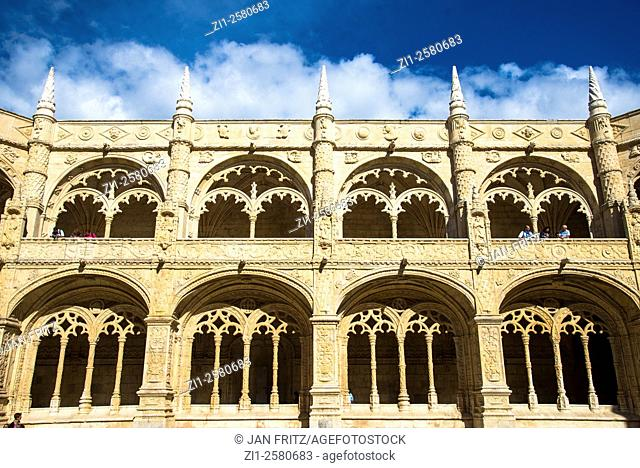 view at part of corridor of jeronimo monastery at lisboa in portugal
