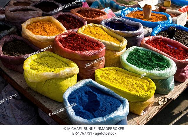 Colourful spices at a market stand, Osh, Kyrgyzstan, Central Asia