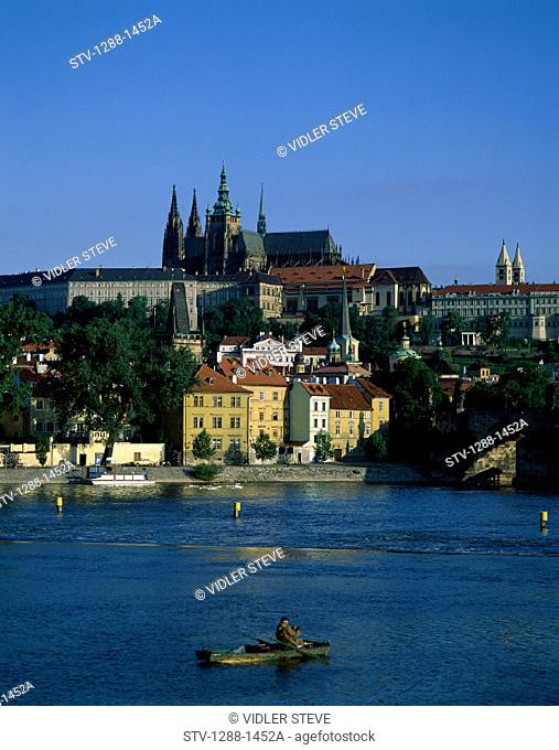 Architecture, Blue, Boats, Buildings, City, Cupolas, Czech, Domes, Holiday, Landmark, Prague, Republic, River, Roofs, Singhts, S