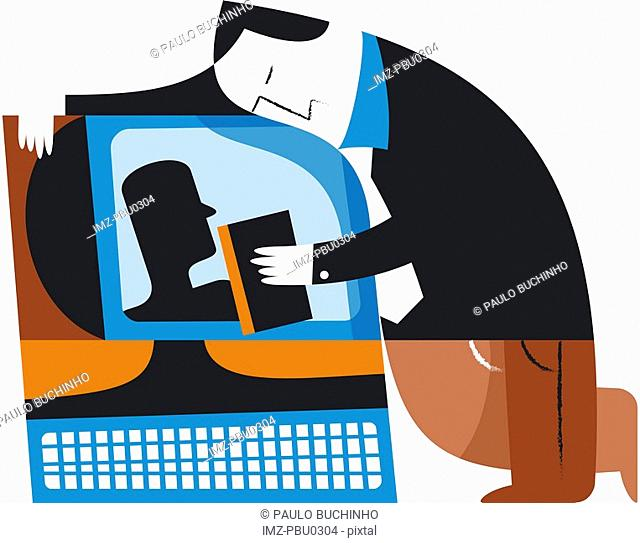 A man hugging his computer and holding a credit card