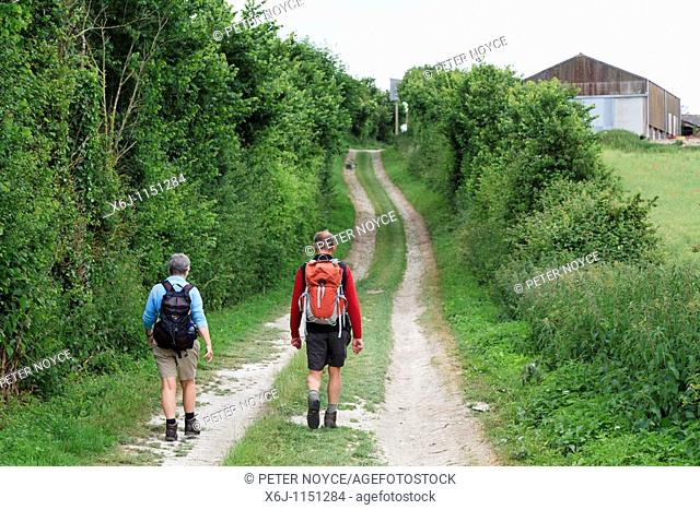 late middle ages man and woman walkers in shorts on country dirttrack with backpacks