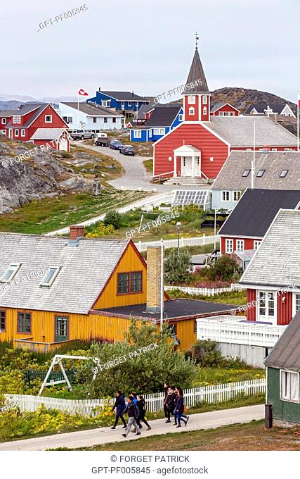 COLORFUL WOODEN HOUSES AND THE CHURCH OF THE CITY OF NUUK, CAPITAL OF GREENLAND
