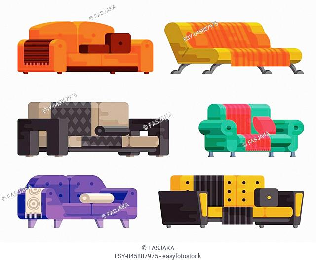 Illustration of sofa set in flat style. Furniture, bedspread, cushion. Sofas of different types isolated on a white background