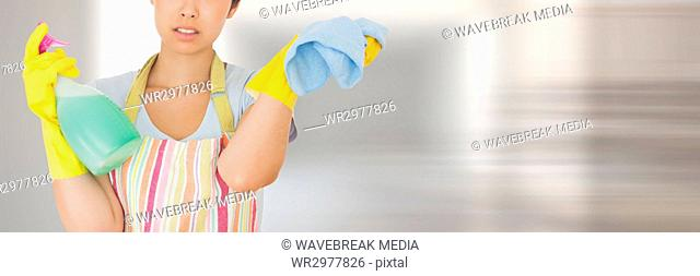 Cleaner with scrubber and spray with bright background